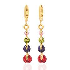 Women Multi-color Round CZ Cubic Zirconia Long Drop Dangle Earrings Jewelry