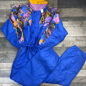 VINTAGE RETRO 90's NEON BLUE YELLO PURPLE SNOWSUIT SKI SUIT EXTRA LARGE