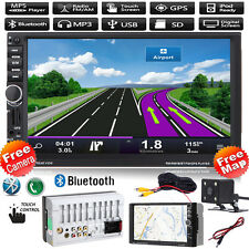 "GPS Navi 7"" Double 2DIN Bluetooth Car Stereo Radio Mp3 Player FM/USB/TF+Map+CAM"