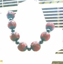 DECO BIG VINTAGE CHINESE SHOU LONGEVITY CARVD LACQUER CINNABAR ONYX NECKLACE 20""