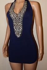 VICKY MARTIN blue silver halter bodycon crystal cleavage mini dress 8 10 12 BNWT