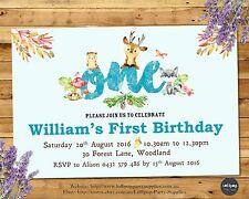 WOODLAND INVITATIONS FOREST ANIMALS UNISEX ANY AGE 1ST BIRTHDAY PARTY INVITES