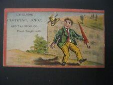 VTG Victorian Trade Card 1800's Excelsior Tailor Shoes East Saginaw Man Robot 44