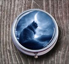 BLACK CAT IN MAGIC NIGHT PILL BOX ROUND METAL -v4t5b