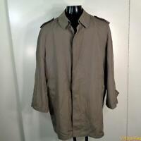OLEG CASSINI Vtg 3/4 Long RAINCOAT Rain Trench Coat Mens Size XL 48 khaki