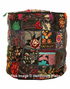 "22"" Vintage Embroidered Patchwork Cotton Footstool Indian Ottoman Pouffe Cover"