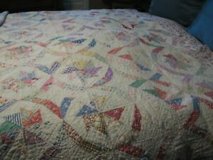 VERY OLD HAND STITCHED MULTICOLOR VERY SOFT QUILT
