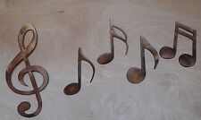 Treble Clef Music Notes Metal Art Wall Hanging with Rustic Copper Finish