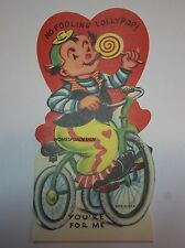 NEW OLD STOCK Vtg. 1960's Valentine Card  TRIKE TRICYCLE CLOWN & LOLLYPOP