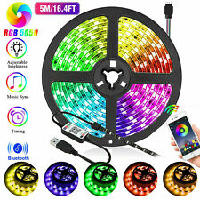 LED Strip Lights 16 FT Bluetooth APP Remote 3528 RGB Backlight Waterproof
