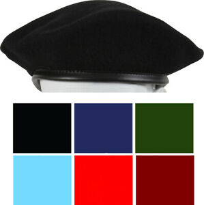 Classic Wool Military Beret - with Eyelets Army Uniform Warm Winter Hat Fashion