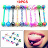 10Pcs Multicolor Tounge Rings Bars Stainless Steel Barbell Body Piercing Jewelry