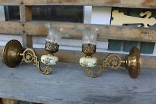 PAIR OF VINTAGE WALL SCONCE LIGHT ANTIQUE STYLE GLASS SHADE AND PORCELAIN INSER