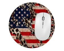 Leopard USA Flag Round Mouse Pad Mice Mat For Laptop Notebook Computer PC Gaming