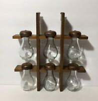 Vintage Mid Century Wood Wall Hanging 6 Glass Bottle Spice Rack