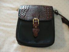 Brahmin Black with Brown Reptile Messenger Bag