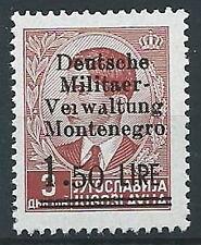 1943 OCCUPAZIONE TEDESCA MONTENEGRO 1,50 LIRE MNH ** - ED223