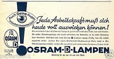 Glühbirne Osram Orig. Reklame 1937 Augen Arbeitskraft Watt Licht bulb ad