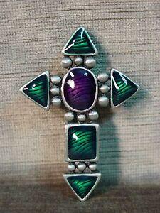 """""""JJ"""" Jonette Jewelry Silver Pewter Green & Purple Stone Cross Pin"""