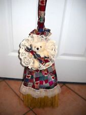 Broom Cover Coverlette Jeweltone Patchwork w/Teddy Bear