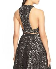 Alice+Olivia NEW Floral Crochet Beaded Lace Crop Top Tank 10 Black TOO SEXY $300