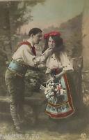 """""""Künstlerkarte, Frauen, Männer, Mode, Trachten"""" 1909, Glitzerkarte ♥  (15856)"""