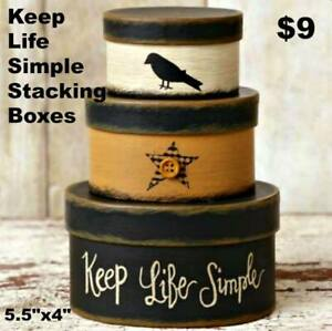 NEW Colonial Folk Art Country Keep Life Simple Crow Nesting Storage Boxes