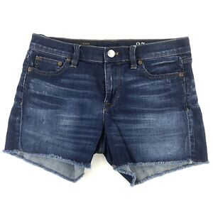 """J Crew Indigo Denim Cut Off Jean Shorts Women's 27 Stretch Blue Frayed Gem W31"""""""