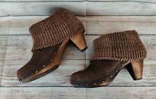 Sanita 39 8/8.5 Brown Suede Ankle Boots Booties Wood Clog Platform Heels Shoes