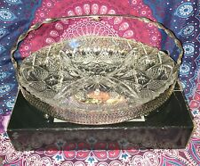 Vintage ~ Glass & Silver Plated Hors D'Oeurves Divided Dish ~ Estate Collectable
