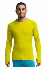 Size L - Icebreaker Men's Sprint Long Sleeve Crewe, Chartreuse/Pine Large