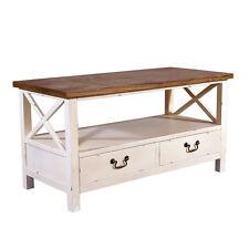 Couchtisch Loire 2 Schubladen Holz Landhaus Stil Vintage Look Tisch creme NEU