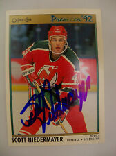 Scott Niedermayer Autograph 1992 O-Pee-Chee Premier Ice Hockey Card NJ Devils