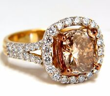 GIA certified 2.99ct Fancy Brown Yellow Diamond ring Halo Cluster 18kt