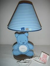 Carters Blue Wooden Bear Picture Frame Baby Nursery Lamp - Ec!