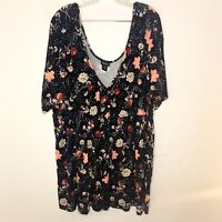 Torrid Blouse Floral V-Neck Scoop Back Top Black Women's Plus Size 4 4x