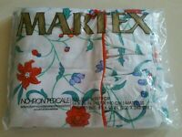 """MARTEX """"RACHEL"""" Sealed Pkg Vintage FULL Flat Sheet NO-IRON Percale Made In USA"""