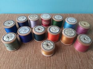 Job lot Bundle Vintage Dewhurst Sylko Wooden Cotton Reels Spools Bobbins x 14