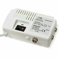 Amplificateur Antenne pour TV Intérieur UHF/VHF 2 Sorties Télé Anti Pixels Blanc
