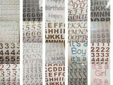 Number and Letter Stickers  Self Adhesive Gold Silver Rose Pearl Diamante