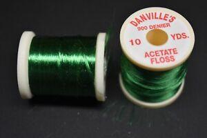 1 Spool, # 62  KELLY GREEN  Danville's Acetate Floss, 900 Denier, 10 yards