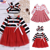 Toddler Kids Baby Girls Striped Long Sleeve Party Dress Outfit Valentine Clothes
