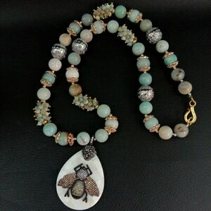 "26"" Natural Green Amazonite Necklace White Shell CZ Beetle Pendant"