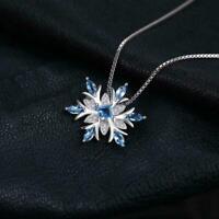 14k White Gold Finish 0.50ct Blue Topaz & Diamond Snowflake Pendant Necklace