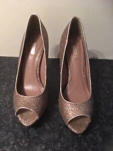 Ladies Next Gold Sparkle Court Shoes Size 5.5