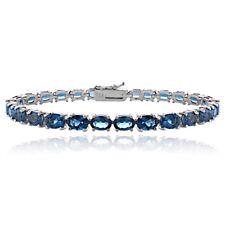 Sterling Silver 15ct London Blue Topaz 6x4mm Oval Tennis Bracelet