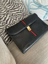 Gucci Folder Portfolio Black Leather Red Black Stripe With Lock And Key