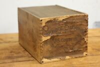 Antique School Crayons Wood Box Dovetail crate JS Cowdery Crayola RARE vintage