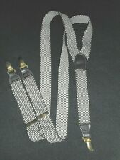 Elastic Suspenders Clip-on Gray B/W Leather Fittings CAS Germany USA