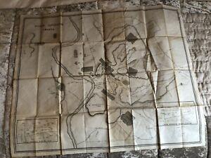 ANCIENT ROME CITY PLAN - original antique linen map - 1851 engraved E Radclyffe